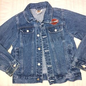 Harley Davidson Blue Jean Denim Jacket Size 8 Boys